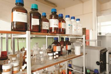 chemical bottles in laboratory