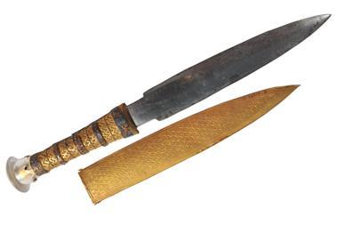 This dagger and gold sheath were one of the many artefacts found in King Tutankhamun's tomb