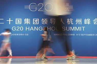 G20 summit logo in the media centre at the G20 summit in Hangzhou, China - Index