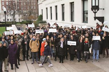 Columbia graduate student workers rally for their right to unionize