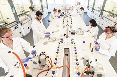 Undergraduate students working in new Synthetic Chemistry teaching lab, at Lancaster University - Hero