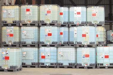 Chemical containers in warehouse