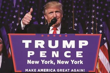 President-elect Donald Trump giving acceptance speech at New York rally - Hero
