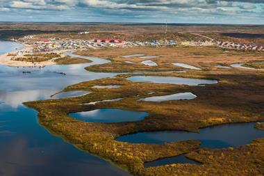 Tundra, aerial photography. Jamal Region, Russia, Sumburgh Village, Arctic Circle